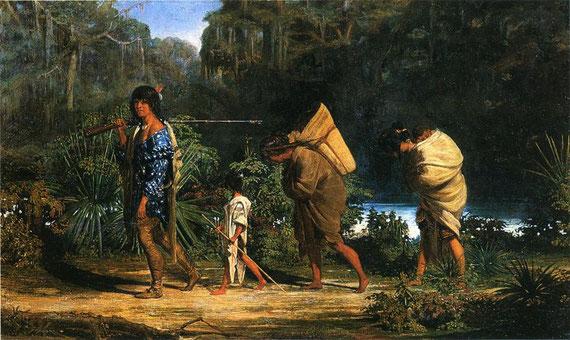 Gemälde: Choctaws gehen entlang eines Flußlaufes