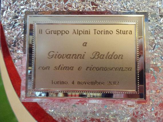 Targa a Giovanni Baldon 4 Novembre 2012