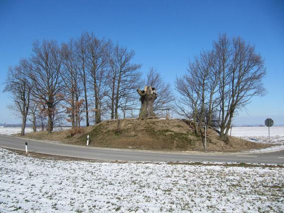 Am Naturdenkmal Höckhübel muß man abbiegen um nach Kleintauscha zu gelangen