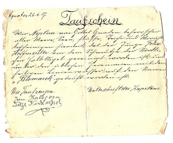 Äquatortaufe Felix Hoffmeister 1907 (Beckröge)
