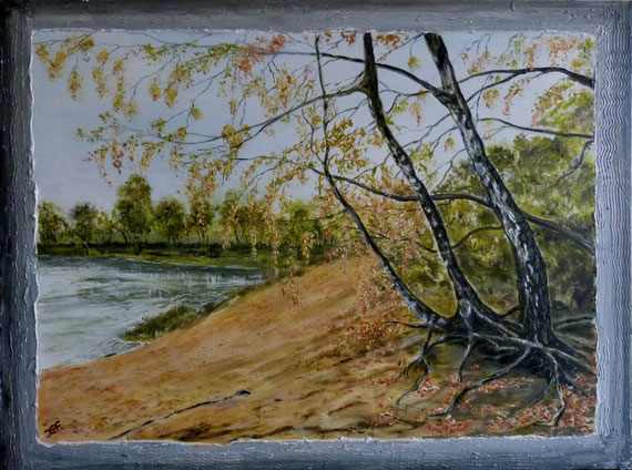 Herbst am Cluvenhagener See, 80x60cm Acryl auf Leinwand im Keilrahmen.