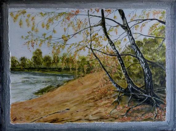 Herbst am Cluvenhagener See mit Spachtelrahmen.