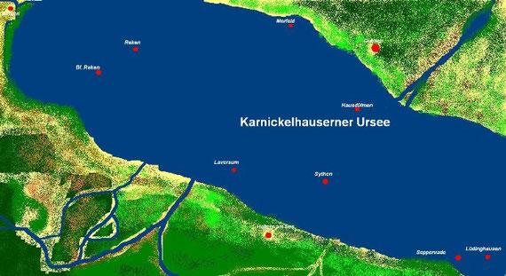 Ursee- Maßstab 1: 100 000. Dörfer und Städte sind Richtungsweiser.