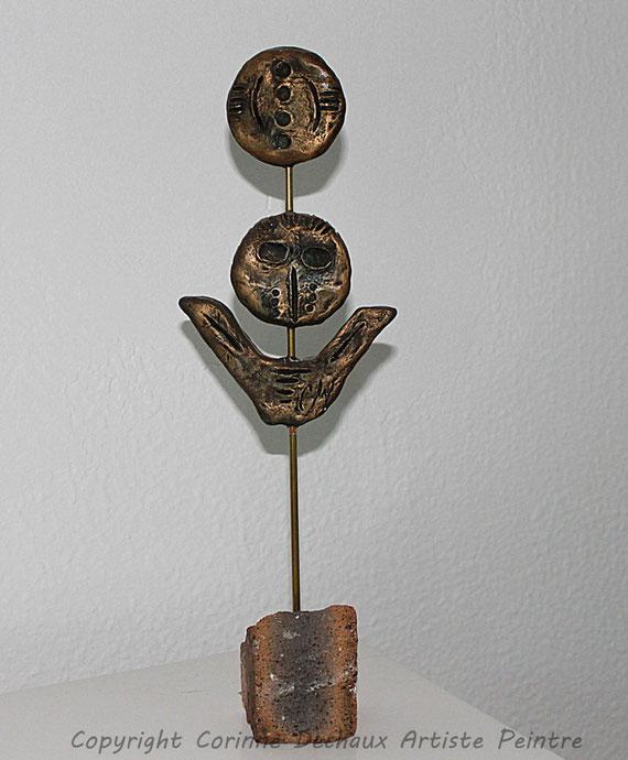 Les Gardiens de la mémoire  Bronze patiné H:36