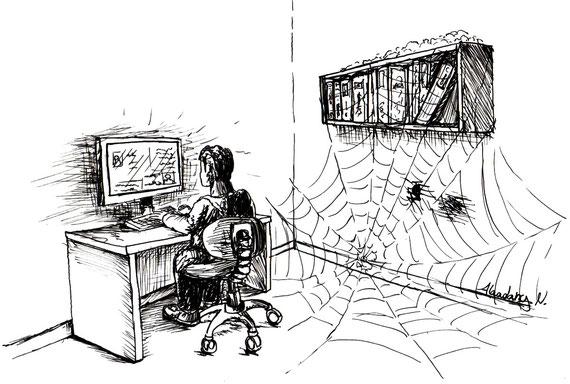 """Super Zeichnungen wie diese mit dem Thema """"Jugendliche lesen keine Bücher mehr"""" vom RSI Eupen gabs 2012"""