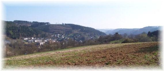 Blick von Scheuren in das Oleftal Richtung Wiesgen