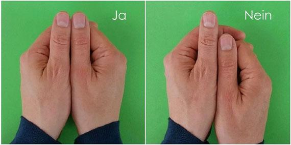 Kinesiologischer Test: Die Armlängen bzw. die Daumen sind bei einem Nein unterschiedlich...