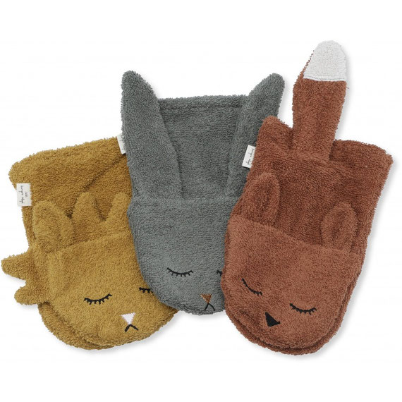 konges slojd 3 pack washcloths animals organic cotton