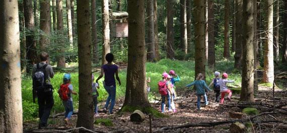 Gruppe von Kindern entdeckt bei Schatzsuche am Kindergeburtstag durch den Wald einen Jägersitz in Schorndorf