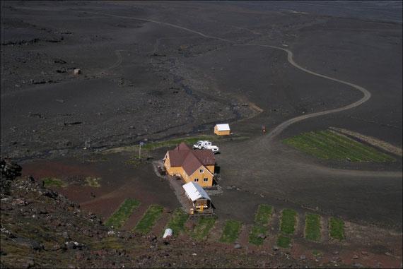 Kverkfjöll, Schutzhütte und Zeltplatz am Rande des Vatnajökull