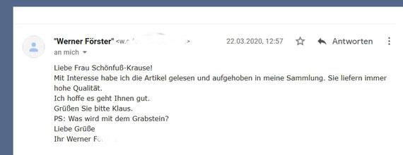 W. Heinz Muche, Email als Feedback