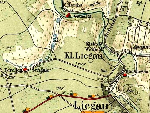 Liegau, Kleinliegau, Herrmannbad, Forellenschänke, Grundmühle, Weiße Mühle, in Meinhold-Karte 1916