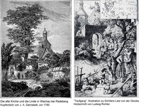 Das alte Wachauer Kirchengebäude ist 1823 abgerissen und neu errichtet worden (Einweihung 7. Dezember 1824), der Turm wurde 1830 umfangreich ausgebessert. Richters wesentlich später geschaffener Holzschnitt zeigt deutlichen Bezug zur Wachauer Kirche.