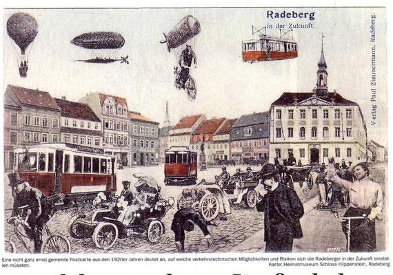 Radeberger Verkehrsentwicklung: humoristische Visionen um 1920. Verkehrszentrum Marktplatz.