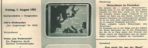 """Programmzeitschrift  """"Unser Rundfunk"""" Nr. 32/1953, 8. Jahrg, 2.-8.8.1953; Information zur Entstehung der Wettervorhersage"""