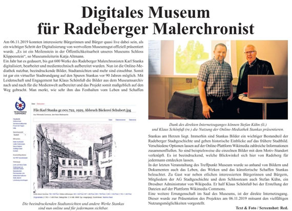 """Digitales Museum für Karl Stanka. Vortrag und Präsentation im Schloss Klippenstein 6.11.2019. Artikel in """"die Radeberger"""" Nr. 46/2019 vom 15.11.2019vom"""
