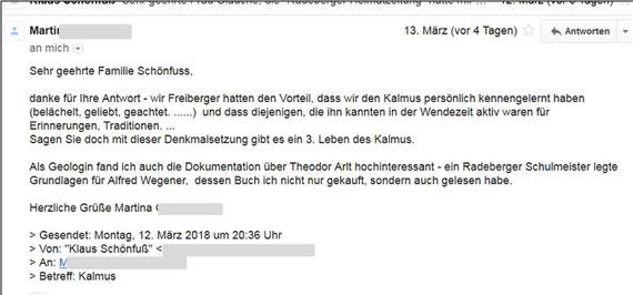 Theodor Arldt und Kalmus, Feedback einer Leserin nach dem Surfen auf unserer Homepage