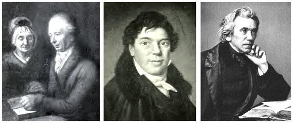 Die 3 Generationen der Richters: Links die Großeltern aus Wachau; Mitte Vater Carl August Richter, geb. in Wachau; rechts Ludwig Richter;    Quelle: Paul Mohn (li. u. Mi.), Wikimedia re