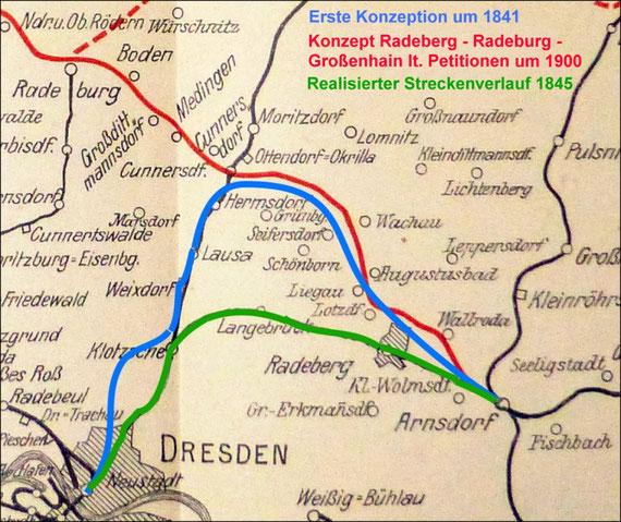 """Übersichtskarte des Eisenbahn-Netzes um Radeberg von den ersten Planungen um 1841 (blaue Linie) über die realisierte Strecke 1845 (grün) bis zum Konzept """"Radeberg/Nord – Radeburg mit Anschluss an die Nord-Ost-Bahn"""" (rot) um 1900."""