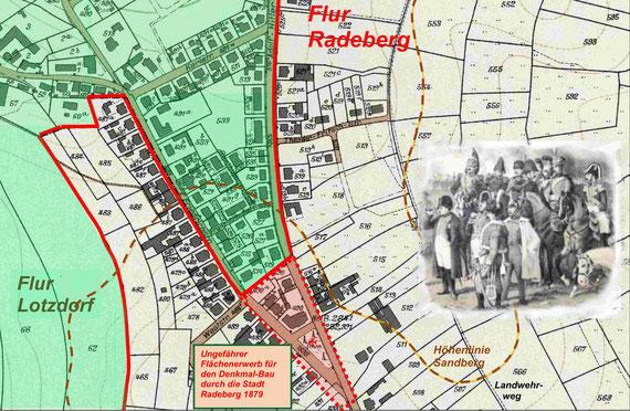 """Der Lotzdorfer """"Scharfe Zacken"""" am Sandberg / eingearbeitet in den Stadtplan Radeberg 1936 (Grün: Lotzdorfer Flur)"""