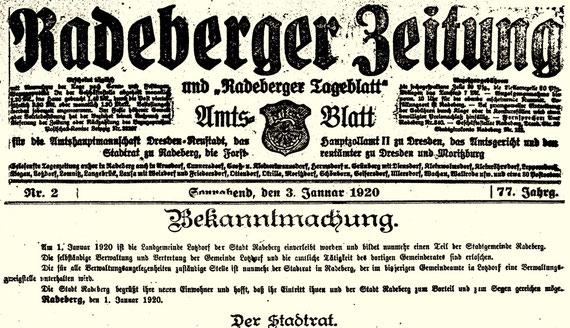 Lotzdorf - Radeberg Einverleibung / Vereinnahmung. Radeberger Zeitung vom 3. Januar 1920 mit der offiziellen Bekanntmachung.