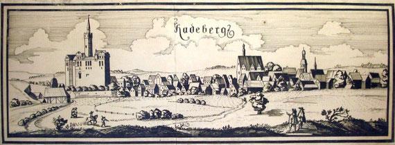 Stadtansicht Radeberg um 1630, frei nach Wilhelm Dilich, gezeichnet 1969 von Renate Schönfuß. Größe 1,70 x 0,66 m.