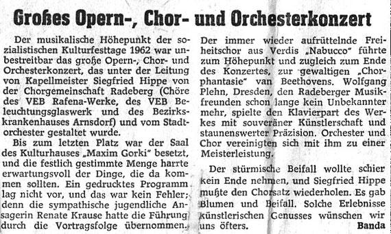 "Kritik zum Konzert Juni 1962 im Kulturhaus ""Maxim Gorki"""