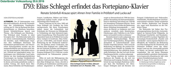 """""""Osterländer Volkszeitung"""" v. 20.6.2016 zum Vortrag über Elias Schlegel"""