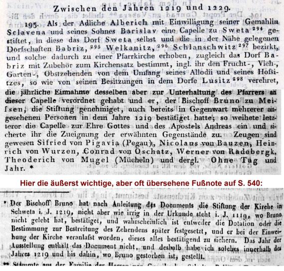 Der Original-Eintrag aus Schultes Directorium Diplomaticum / II. Nr. 193, Seiten 539/540. Faksimile-Montage der für Radeberg relevanten Text-Stellen mit der Fußnote, dass Schulte das Datum willkürlich festgelegt hat (Bischof Bruno verstarb 1228).