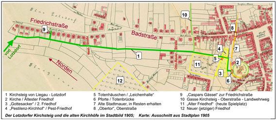 Der Lotzdorfer Kirchsteig (grün) und die alten Radeberger Friedhöfe im Stadtplan 1905