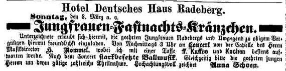 """Veranstaltungs-Anzeige """"Das Echo""""  vom 2.März 1878"""