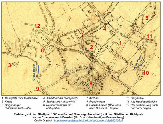 Richtplatz des Amtes Radeberg und Richtplatz der Stadt Radeberg 1665