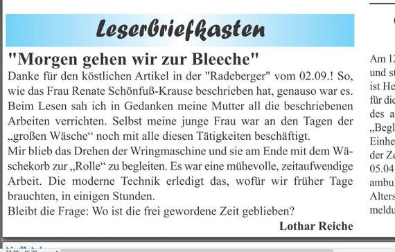 "Leserbrief in ""die Radeberger"" Nr. 36 vom 9.9.2016"