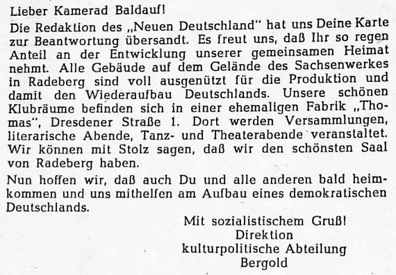 """Brief an den sowjetischen Kriegsgefangenen Baldauf, der von der Klubhauseröffnung gelesen hatte (""""Der Motor"""" Nr. 2; März 1949)"""