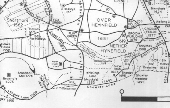 An extract from the map drawn by John Morris Jones for Medieval Yardley