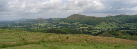 The Wrekin, The Lawley & Caer Caradoc from Bodbury Ring.