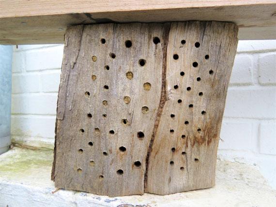 selbst gebaute Wildbienen-Nisthilfe