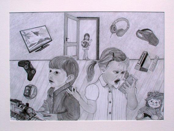 digitales Kinderzimmer, Graphit auf Zeichenkarton A2