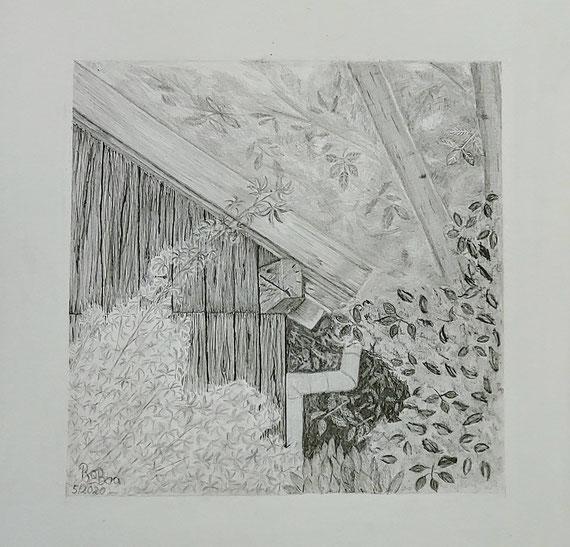 Gartenhaus unterm Walnussbaum, Bleistift auf Clairfontaine On Multitechnik Papier, 29,7 cm x 42 cm