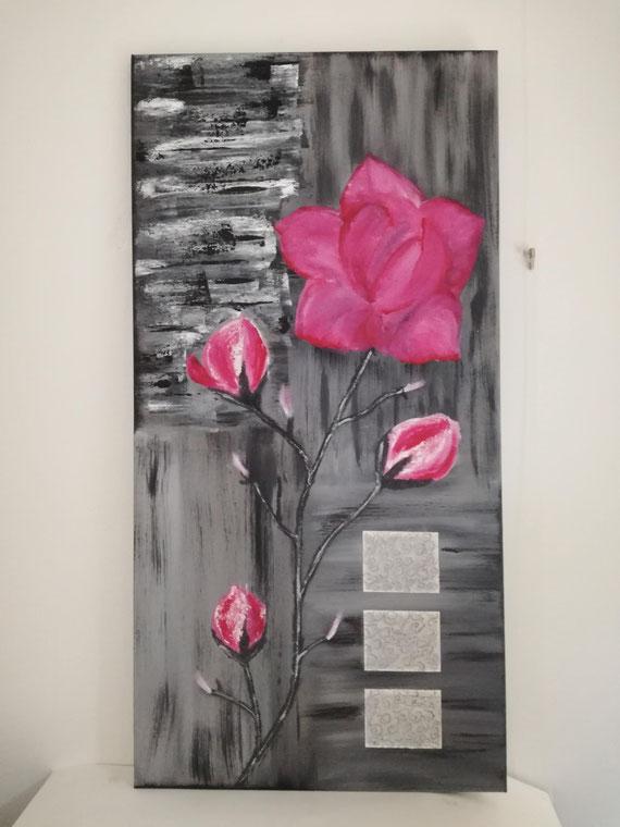 Magnolie, Acryl auf Leinwand 40x80cm