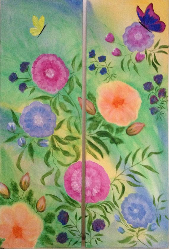 Frühling, Acryl auf Leinwand (Diptychon)