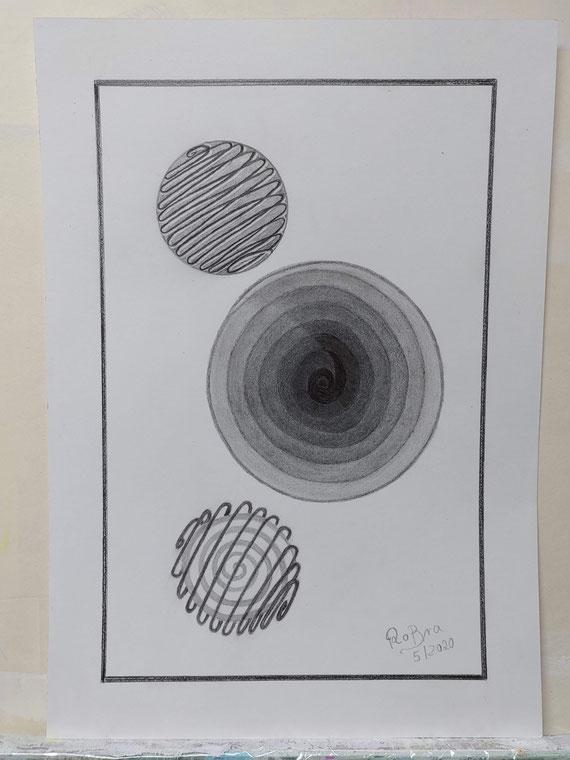 Spielen mit Spiralen, Bleistift auf Clairfontaine On Multitechnik Papier, 29,7 cm x 42 cm