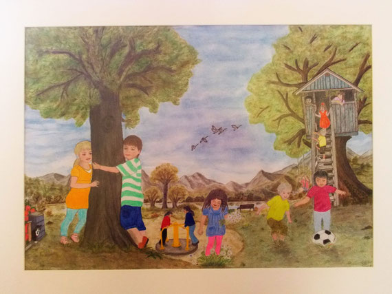 analoge Kinderwelt, Pastellkreide und Buntstift auf Zeichenkarton A2