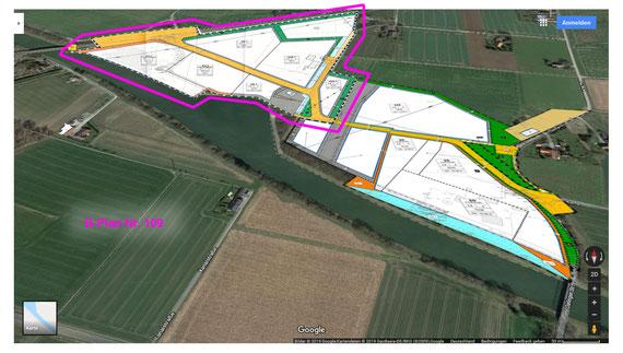 Geltungsbereich B-Plan Nr. 109 (pink), quelle Google-Maps, eigene Bearbeitung