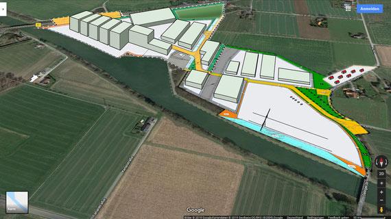perspektivische Ansicht des geplanten Hafens in Bohmte