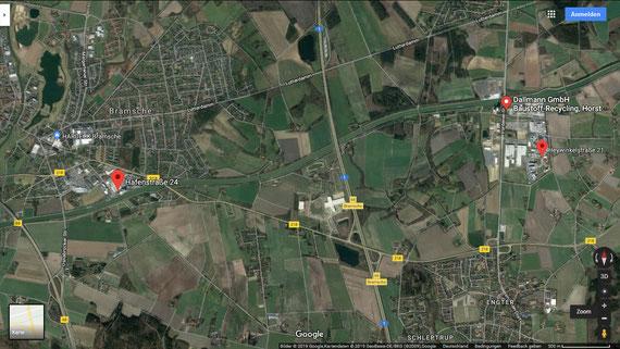 Standorte der Fa. Leiber in Bramsche, Hafenstr. 24 und in Engter, Heywinkelstr. 21, sowie dem Hafen der Fa. Dallmann. Quelle Google-Maps