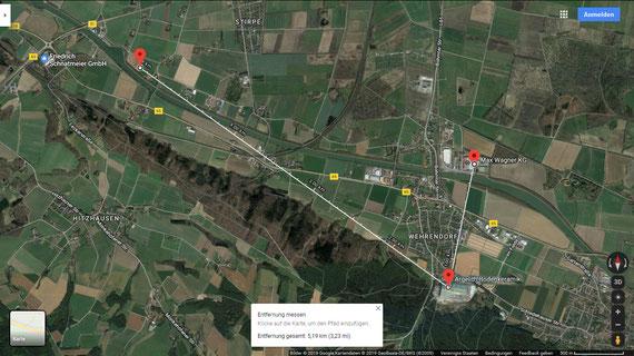 Hafenstandorte in der Nähe der Fa. Argelith in Wehrendorf (Quelle: Google maps)