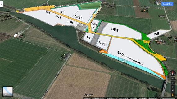 Teilflächenbezeichnungen des Hafenprojekts
