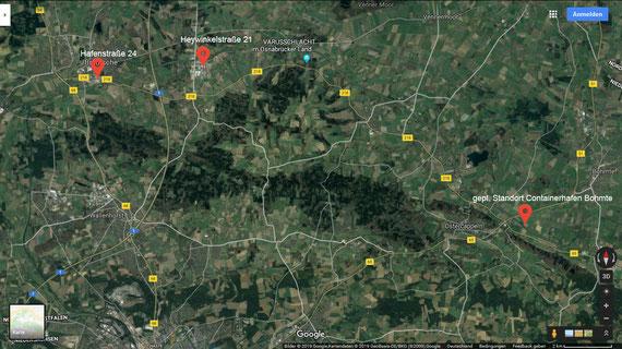 Standorte der Firma Leiber und des geplanten Containerhafens in Bohmte. Quelle Google-Maps