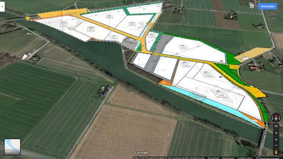 perspektivische Darstellung der Hafen-Bebauungspläne
